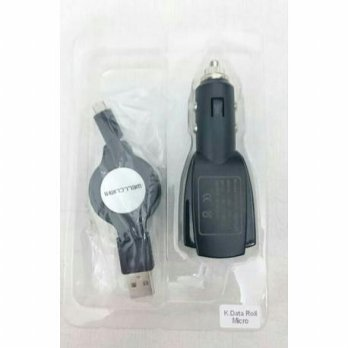 USB Car Charger Wellcomm 3.1A Cable Roll Original Produk