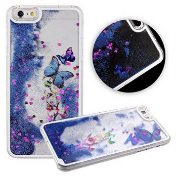 [holiczone] B`Q Case for Iphone 6, Cute 3D Dynamic Quicksand Heart Shaped Liquid Butterfly/229000