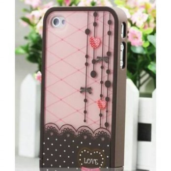 [holiczone] WYEC Brown and Pink Polka Dot Pattern Hard Case with Red Heart Love Design For/230336