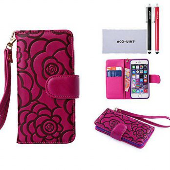 [holiczone] ACO-UINT iPhone 6s Wallet Case,iPhone 6 Wallet Case,Elegant Camellia Flower Le/244158