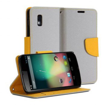 [holiczone] GMYLE (R) Wallet Case Classic for LG Google Nexus 4 E960 - Silver Grey & Yello/247953