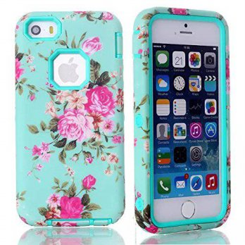 [holiczone] iPhone 5s case,iphone 5 case,Carryberry Kaseberry Hard Case & 3 in 1 Flowers S/252948