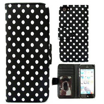 [holiczone] [iPhone 4 4S],iPhone 4s Leather Case,iPhone 4s Wallet Case,Canica Black Polka /255090