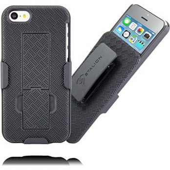 [holiczone] iPhone 5C Holster: Stalion Secure Shell Case & Belt Clip Combo with Kickstand /216340