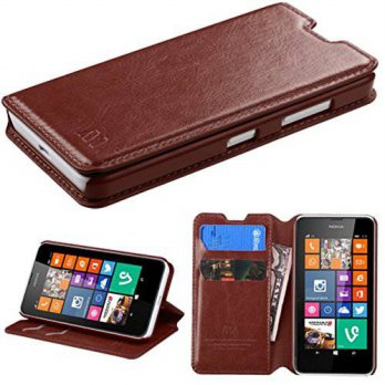 [holiczone] MyBat MyJacket Wallet with Tray for Nokia Lumia 630 - Retail Packaging - Brown/219967