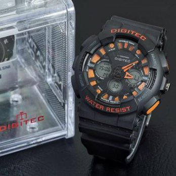 Jam Tangan Pria Sport Digitec Dg2032 Black Orange Original