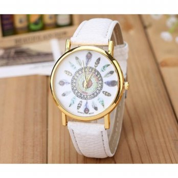 Jam Tangan Wanita Fashion Feather Pattern Female Watch Leather Strap White