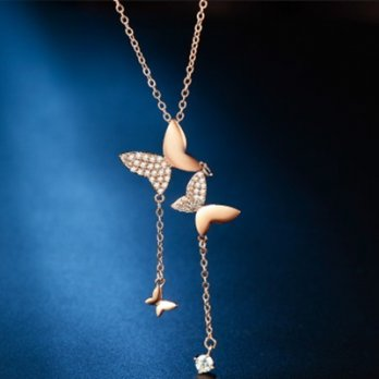 Rose gold necklace + diamond necklace female silver pendants butterflies 73hj13 [Milan] Gifts