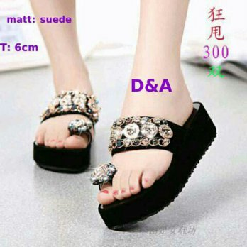 Sandal Wedges Black Amor Deli