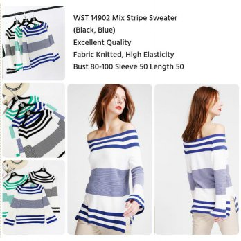 Mix Stripe Sweater (BLUE,BLACK)-14902