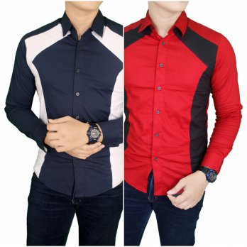 Kemeja Casual Slim Fit Panjang / Mens Semi Formal Slimfit Long Sleeve Shirts/ Kemeja Fashion Terbaru