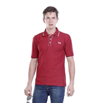 Kaos Kerah / Polo Pria / lacoste Red Reduction  merah Hurricane H 0235