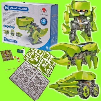 Amazing 4 Shape Solar Robot Kid Toys Bongkar Pasang Panel Surya Puzzle Robocop Insects T-Rex Driller