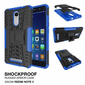 Xiaomi Redmi Note 3 Rugged Shockproof Armor Hybrid Hard & Soft Case - Biru
