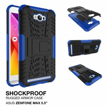 Asus Zenfone Max Rugged Shockproof Armor Hybrid Hard & Soft Case - Biru