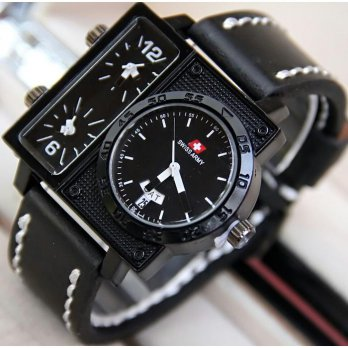 Termurah! Jam Tangan Pria / Cowok Swiss Army Big Size SK2 Leather Black White