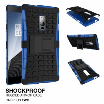 OnePlus Two / 2 Rugged Shockproof Armor Hybrid Hard & Soft Case - Biru
