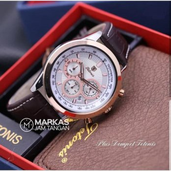 Jam Tangan Pria Tetonis TS11 Chronograph Leather Set ORIGINAL