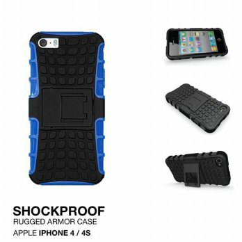 Apple iPhone 4 4s Rugged Shockproof Armor Hybrid Hard Case & Soft Case - Biru