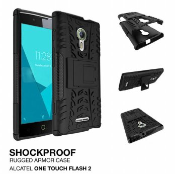 Alcatel One Touch Flash 2 Shockproof Armor Hybrid Hard & Soft Case - Hitam