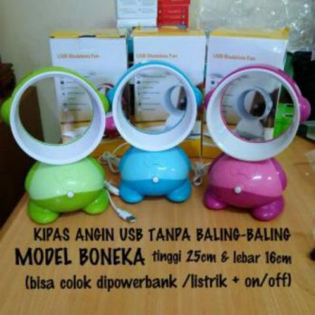 Kipas angin model boneka tanpa baling dan powerbank port