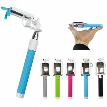 Tongsis Kabel Lipat full color All in One / Foldable Wired Selfie Stick