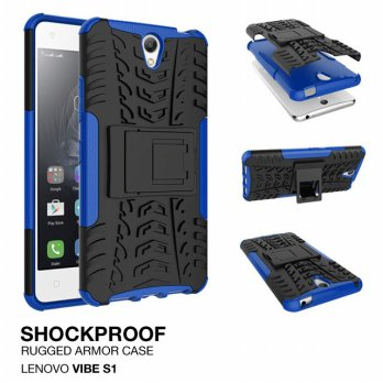 Lenovo Vibe S1 Rugged Shockproof Armor Hybrid Hard & Soft Case - Biru