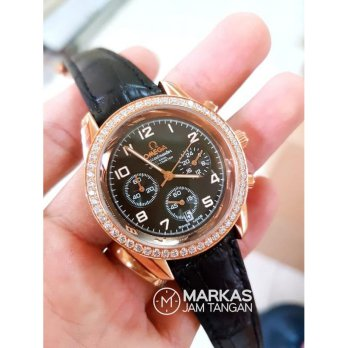 Jam Tangan Wanita Omega Speedmaster CoAxial Ring Diamond Leather Wtch
