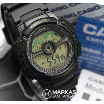 Jam Tangan Pria Casio Map AE-1100 Digital Rubber Watch ORIGINAL