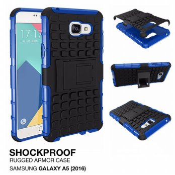 Samsung Galaxy A5 2016 Rugged Shockproof Armor Hybrid Hard & Soft Case - Biru