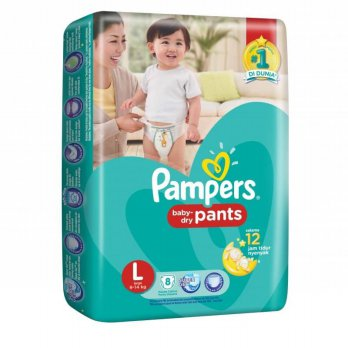 Pampers Dry Pants Size L 8 Pc