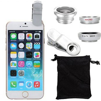 [holiczone] XCSOURCE clip 180 Degree Fish Eye Lens + Wide Angle + Micro Lens Kit for iPhon/225264