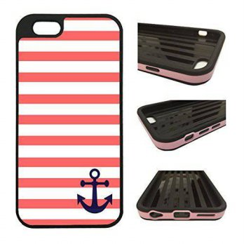 [holiczone] CorpCase iPhone 6 Plus Case / iPhone 6S Plus (5.5) Case - Coral And White Stri/196703