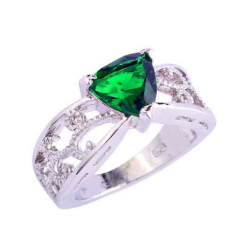 Green Triangle Crystal Platinum Plated Ring