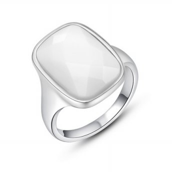 White Square Crystal Platinum Plated Ring