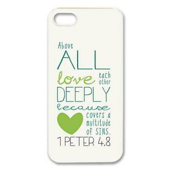[holiczone] diycover iPhone 5 5S Case - Bible Verse 1 Peter 4.8 - New Style Durable Case C/228123