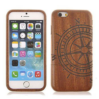 [holiczone] EaseIcon iPhone 6 Wood Case, Handmade [Fine Finish] Compass Real Natural Sapel/190350