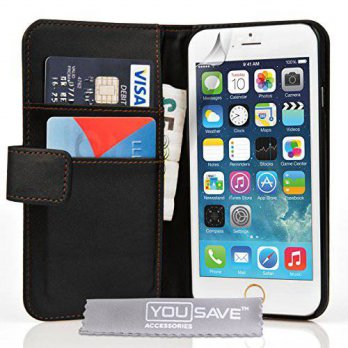 [holiczone] Yousave Accessories iPhone 6 Case Black PU Leather Wallet Cover/197804