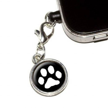 [holiczone] Graphics and More Paw Print - Pet Dog Cat - White on Black Anti-Dust Plug Univ/200610