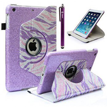 [holiczone] Style4U Shiny Zebra Print 360 Rotating PU Leather Bling Stand Case with Stylus/145093