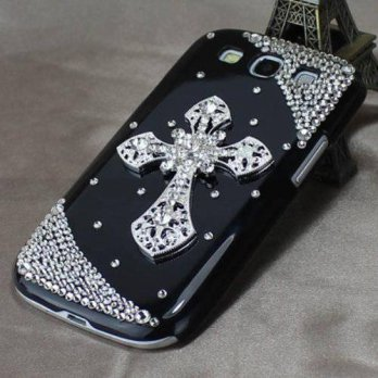 [holiczone] Punkphone Black Silver Cross Luxury Diamond Bling Cover Case for Samsung Galax/120534