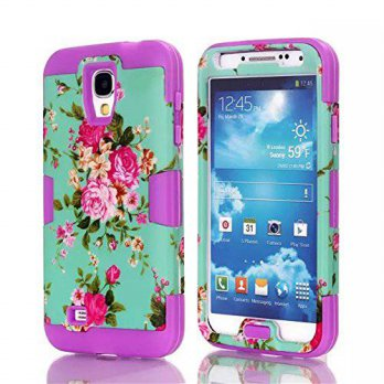[holiczone] Samsung Galaxy S4 Case, LERBO Romantic Flowers Hybrid Impact Case Silicone Cov/136778