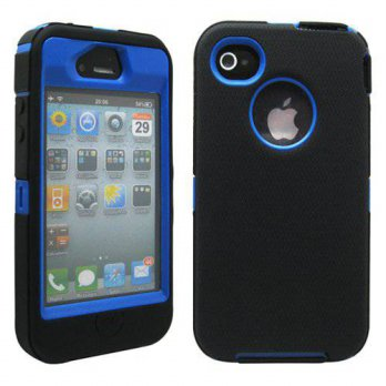 [holiczone] GEARONIC TM Black & Blue Three Layer Silicone PC Case Cover for iPhone 4 4G 4S/145875