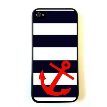 [holiczone] Evermarket EVERMARKET(TM) iPhone 6 Plus (5.5) case-Striped Sailer Red Anchor C/146245