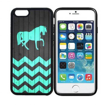 [holiczone] Iphone 5C iPhone 6 (4.7 inch display) Designer Black Case - Horse - On Wood Te/151934