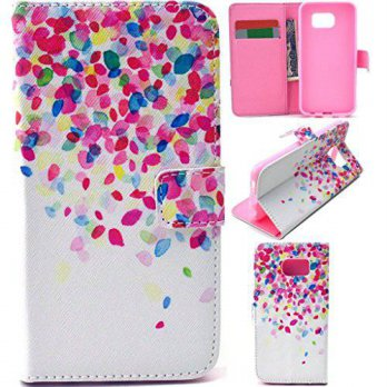 [holiczone] Lurashop Galaxy S6 Case,colorful Petals Pattern- Cute Fashion Magnetic Snap Wa/192035