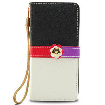 [holiczone] iPhone 6 Case, 2-Tone Slim Wallet Book Cover with Gold Flower Button & Credit /197996
