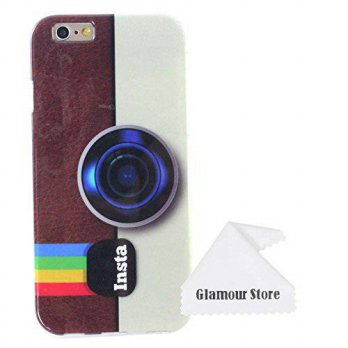 [holiczone] Tory iPhone 6 Plus Case,Retro Style Insta Camera Pattern Gel Silicone Soft Cas/201147