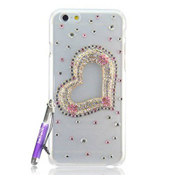 [holiczone] HOHONG ( TM ) Phone 6 Bling Cases Cover Rhinestones Bling Pink Loving Heart Cr/212191