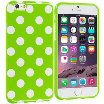 [holiczone] Cell Accessories For Less (TM) Neon Green / White TPU Polka Dot Skin Case Cove/213838